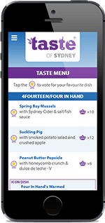 Mobile UI design for Taste of Sydney festival