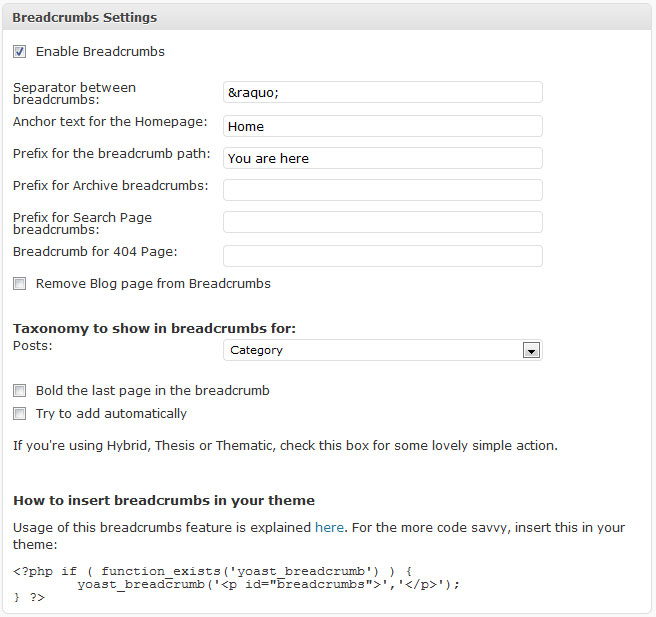 WordPress SEO integrated breadcrumbs