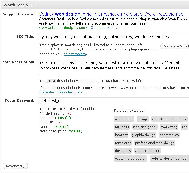 WordPress SEO focus keyword feature