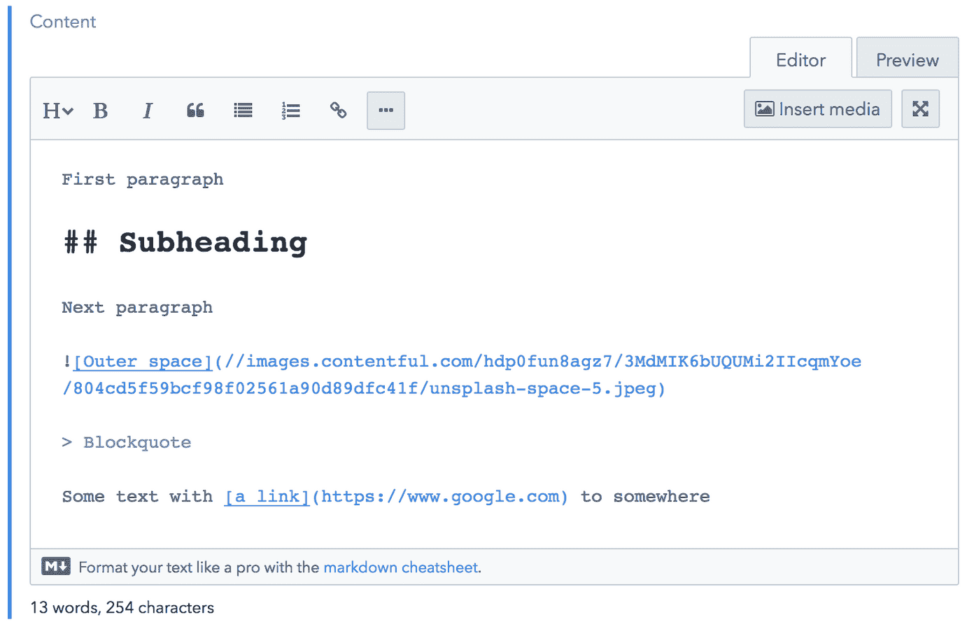Example Markdown content in CMS